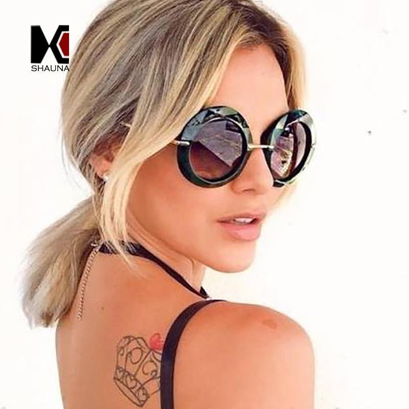 SHAUNA Oversize facetada Quadro Mulheres Round Sunglasses Popular Ladies Gradient Lens Shades UV400