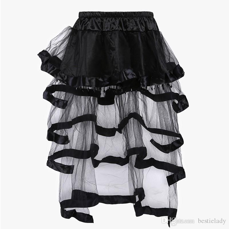 치마를 일치 여성 검은 색 파란색 새틴 계층 메쉬 댄스 의상 로리타 하이 - 보라 치마 Pardy 드레스 S-XXL 의상 코르셋