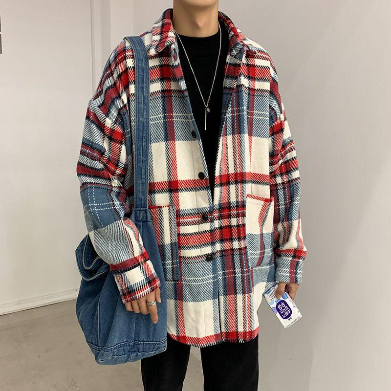 Flanellhemd Männer Langarm-Winter-beiläufige koreanische lose Art und Weise Weinlese-Männer Shirts Plaid Maxi-Male Tops und Blusen