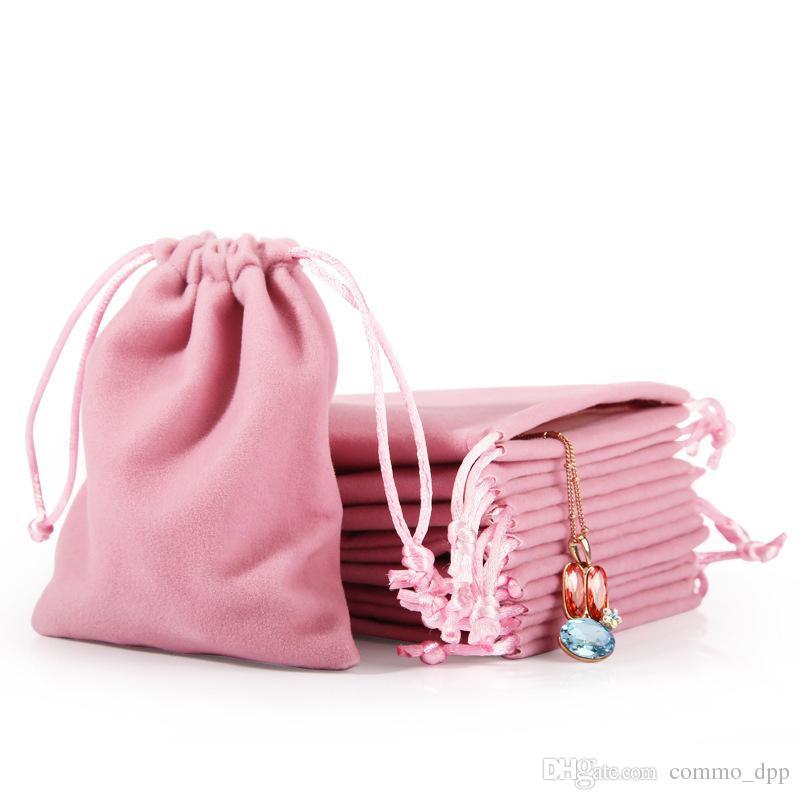 Novo Veludo Jóias Cordão Sacos de Presente Cord Rosa Cinza gelo À Prova de Poeira Cosméticos Armazenamento Artesanato Embalagem Bolsas para Boutique de Loja de Varejo