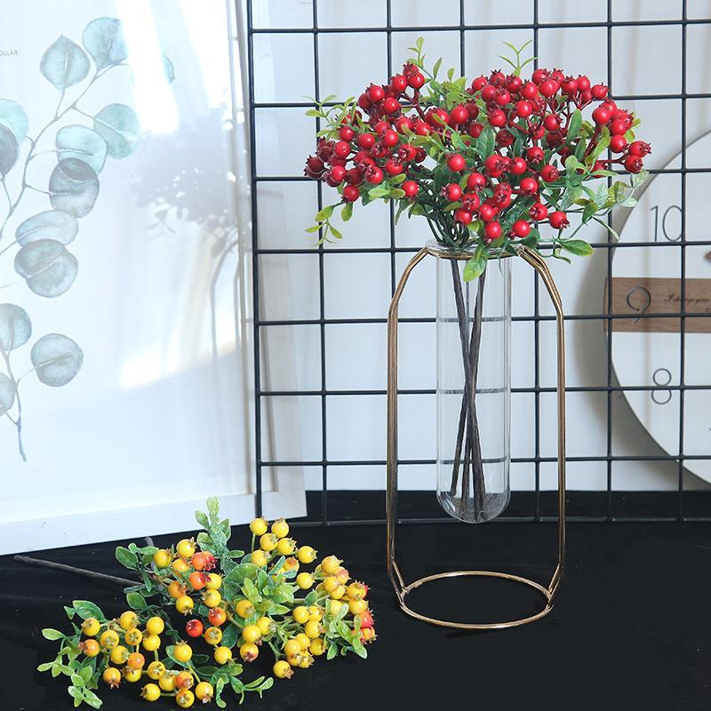 10 unids / lote plantas artificiales espuma de frutas rama de bayas de Navidad flor falsa para accesorios de decoración del hogar boda sosteniendo flores