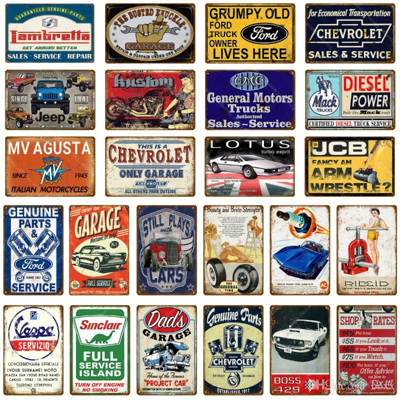 빈티지 자동차 차고 레트로 금속 주석 징후 베스파 장식 플레이트 맥 트럭 벽 스티커 오토바이 자동차 포스터 홈 인테리어