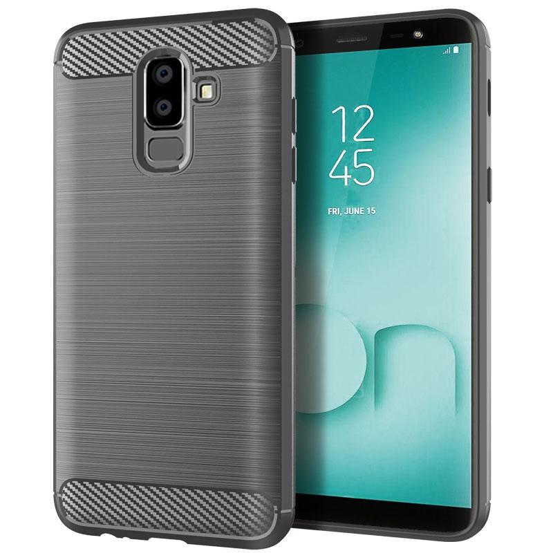 Fibre de carbone Texture de couverture de conception anti-rayures de cas d'absorption de choc pour Samsung Le 8 2018 Housse de protection