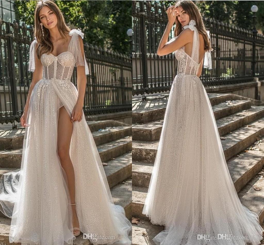 2019 Berta A Line Beach Wedding Dresses Spaghetti Lace Glitter Side Split Sweep Train Boho Wedding Dress Plus Size Graden Bridal Gowns