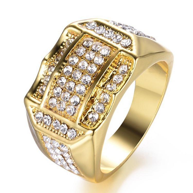 Gioielli esplosione di modo Europa e l'anello del progettista uomini gioielli in America grande uomo diamante anelli di diamante Bague en or pour homme