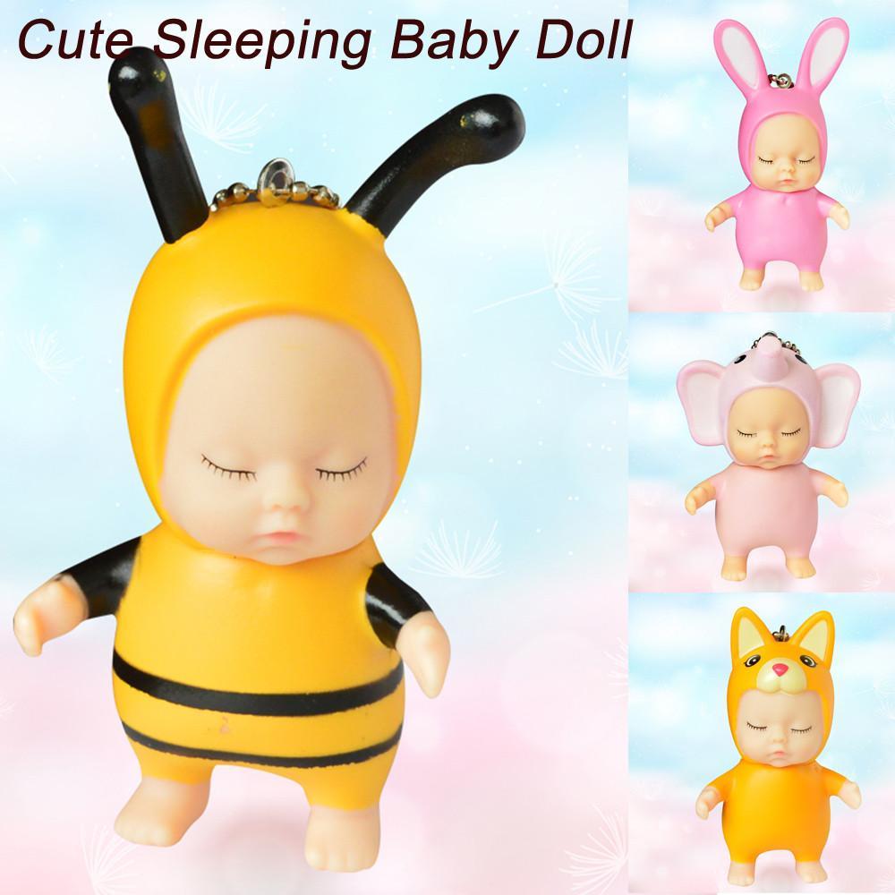 어린이 장난감 아기 재미 있은 장난감 소년 소녀 귀여운 잠자는 아기 인형 고무 펜던트 키 체인 열쇠 고리 장난감