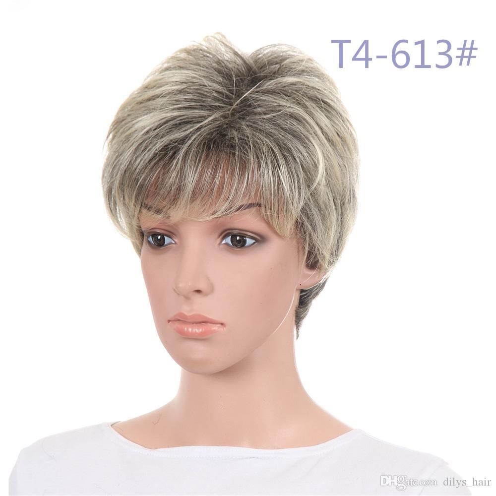 الاصطناعية قصيرة الشعر المستعار الطبيعي يبحث مع الدوي مختلط لون الشعر الاصطناعية الباروكات 120G / قطعة 11 بوصة