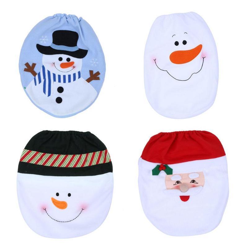 3pcs Santa Cover Toilet Seat and Santa Claus bath mats 1 set Bath Foot Pillow Seat Cover Christmas New Year Decorations