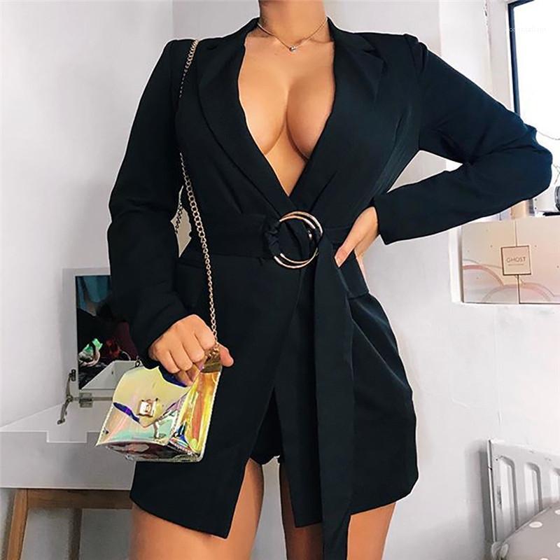 Costume Manteau mode Couleur unie col en V profond Anneau Ceinture Manteau Slim Sexy Femmes Manteaux Automne Femmes Designer