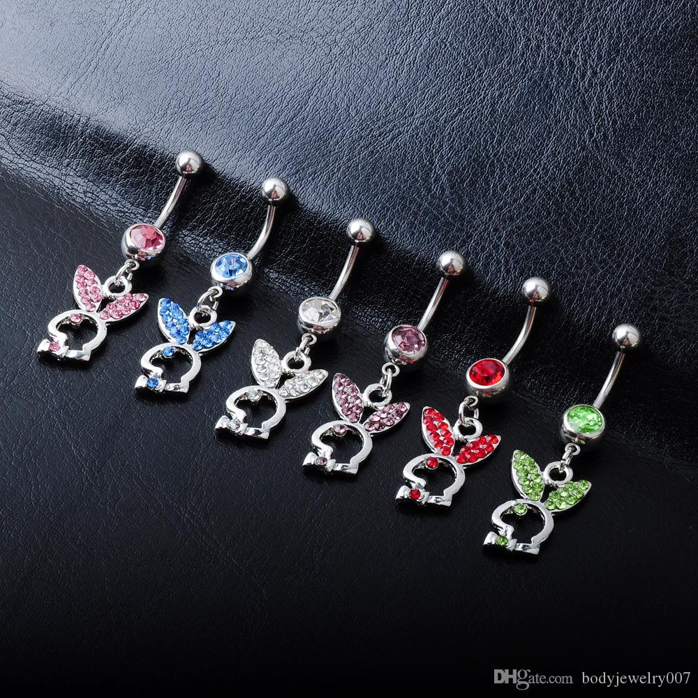 D0255 ( 6 colors ) piercing body jewelry Belly Button Navel Rings Body Piercing Jewelry Dangle Accessories Fashion Charm Rabbit 20 PCS