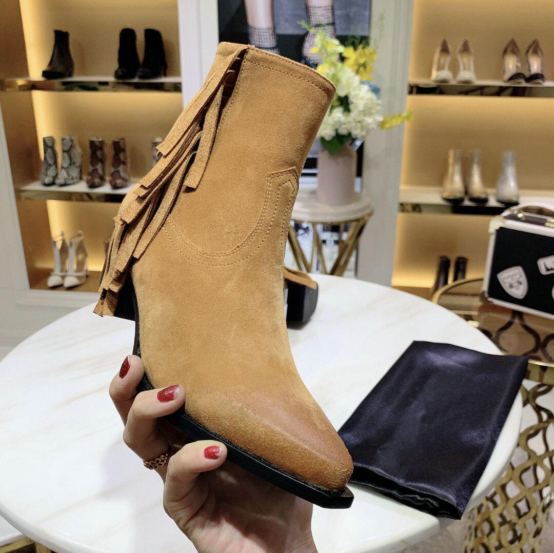 Hot Sale- Suede leather Tassel Mid-heel boots Women Casual Round Toe Zipper Thick Heel Ankle Boots for Women Low Wedge Motorcycle Boots