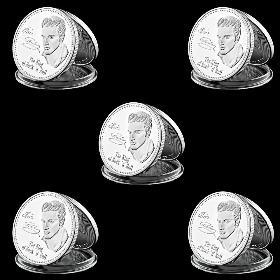 5pcs Souvenir Coin American King Of Rock Super Star Elvis Presley 1935-1977 1oz Silver Plated Collectible Coin