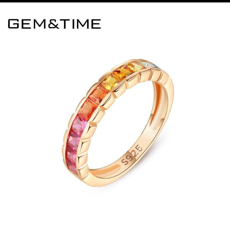 GemTime Marque colorée Topaz 925 Bague Baguette Bague en argent pour les femmes en or rose couleur haute joaillerie cadeau SR0127