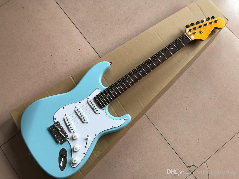 compras costume da guitarra elétrica, azul trabalho manual cor 6 Cordas Rosewood pickguard fingerboard branco guitarra, foto real
