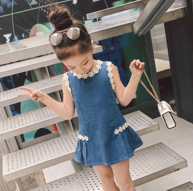 2019 new fashion baby girls dress sunflower wash blue denim children boutiques clothes kids cowboy clothing