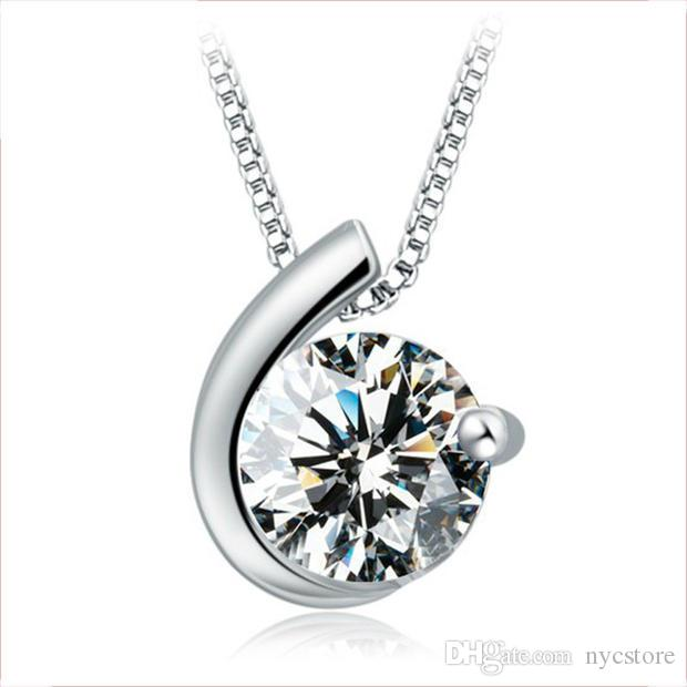 30% 925 Sterling Silver Woman Zirconia Austria Crystal Moon Bay Pendant 1.2cm*0.9cm Necklace Women Party Jewelry Silver Color