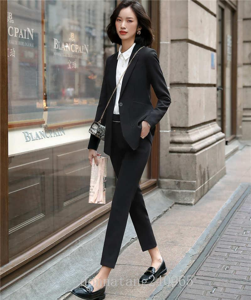 BS668 Uniform Designs Business Work Wear Suits With Pants and Jackets Coat Newest Autumn Winter OL Styles Pant suits Blazer Set