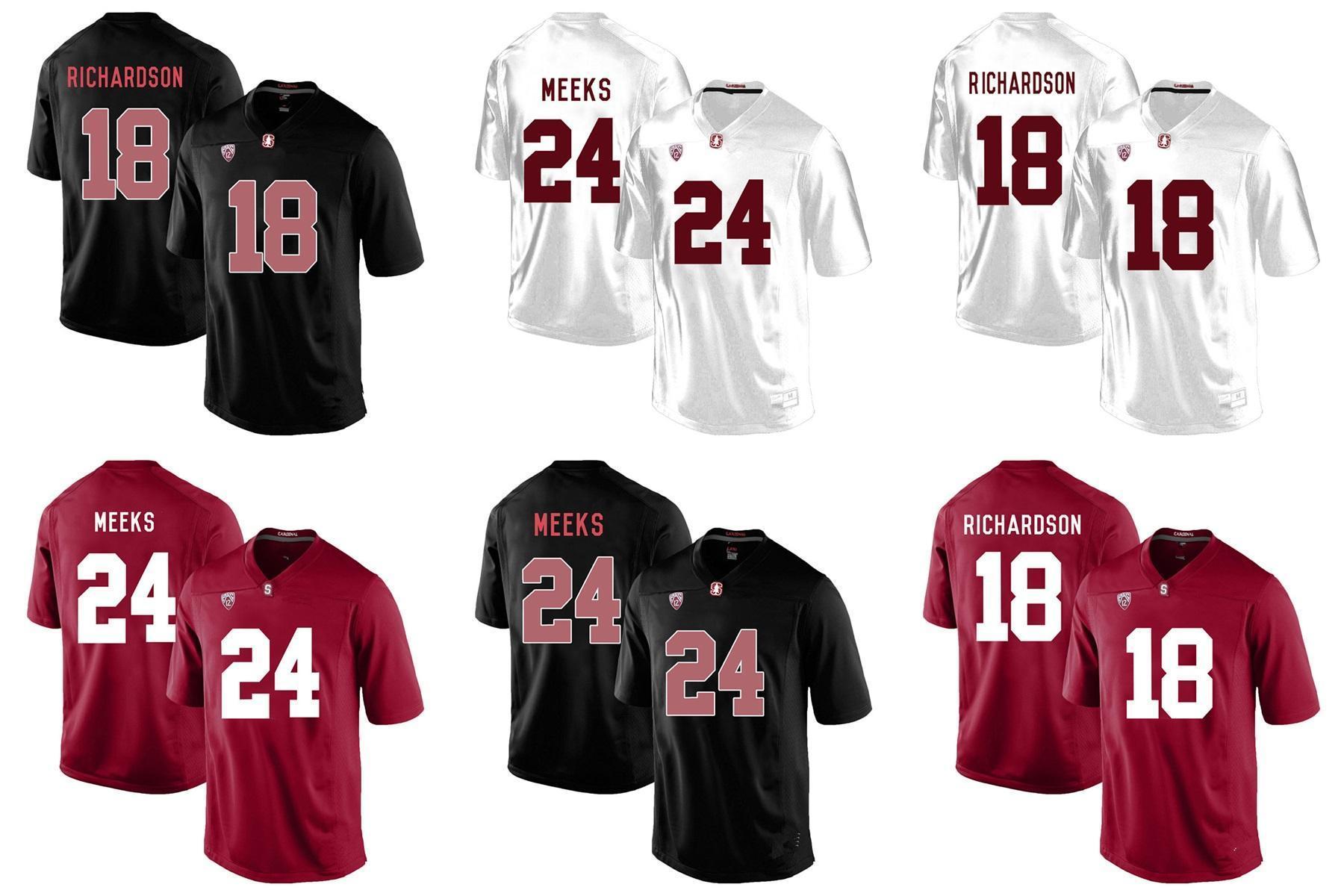 Stsnford 18 Fabbrica RICHARDSON Outlet- Nuova MEEKS 24 College Football Jersey ricamati formato S-3XXL, maglie ordine della miscela di gioco del calcio