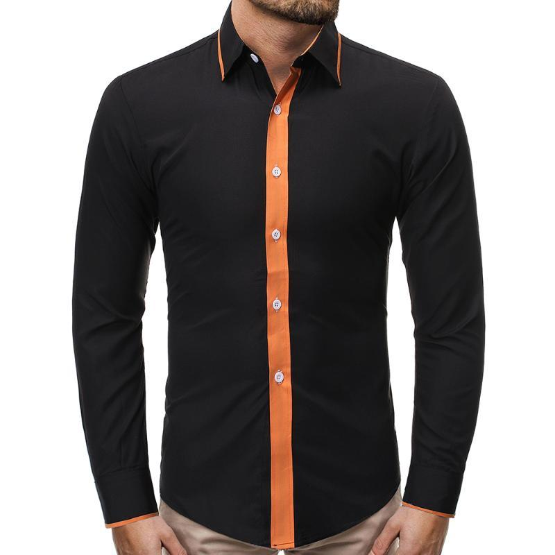 dos homens cuidado fácil sólido fibra de bambu camisas de vestido confortável macia luva longa Elastic Non Ferro Masculino regular-fit Formal Tops Shirt