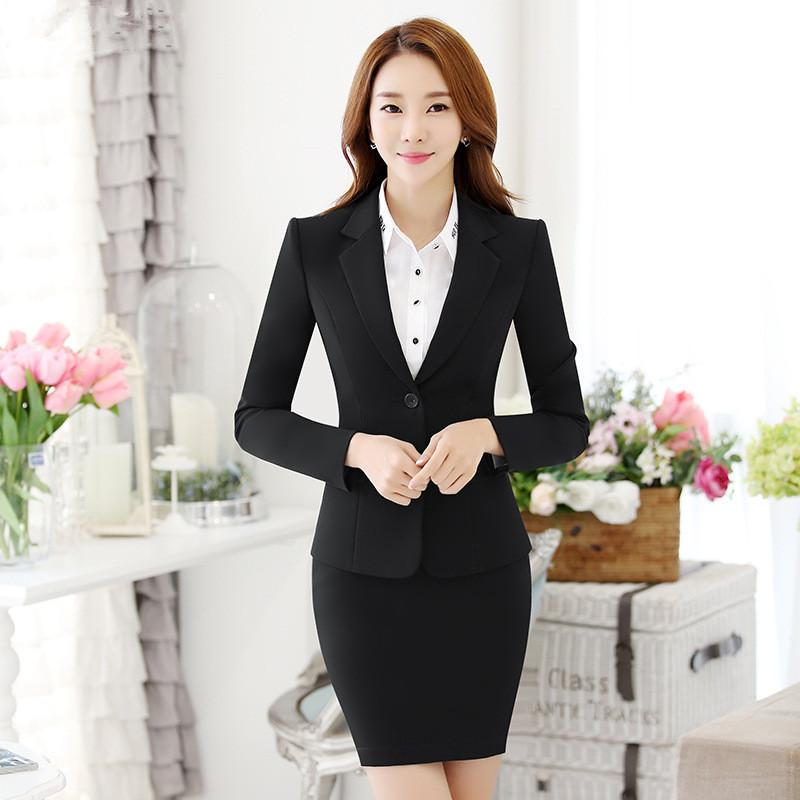 Kadınlar Etek Siyah Şık Ofis Lady Blazer Etek Suit Biçimsel Kadınlar İş Suit Kadın Kıyafetleri Kadın Ofisi Takımları