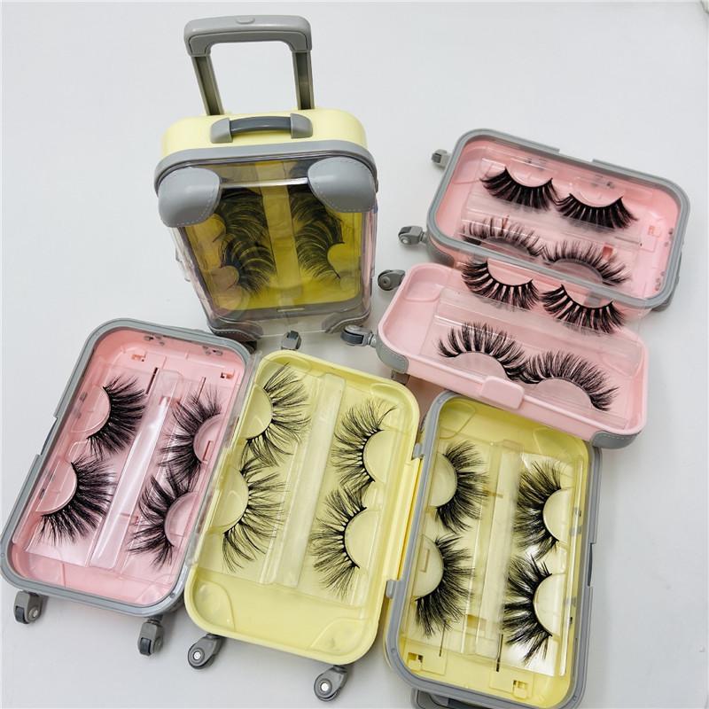 25mm falsche Wimpern 2 Paare 3D dick lange flaumige weiche Wimper-Augen-Make-up Wimpernverlängerung Geschenk-Box