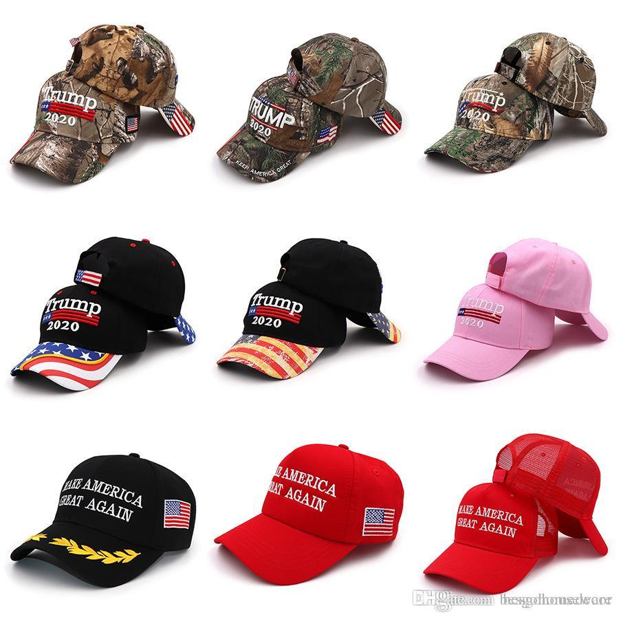 16 Styles Trump 2020 Baseball Hat Embroidery Donald Trump Keep America Great Cap America President Trump Camouflage Sunscreen Hat BH1890 TQQ