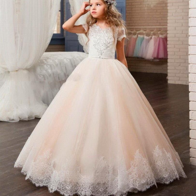 Abiti Applique del merletto di modo del fiore ragazza abiti senza maniche in tulle di compleanno per Matrimoni Prima Comunione partito