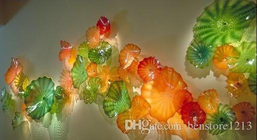 OEM 입 블로운 무라노 램프 꽃 예술 공예 접시 장식 유리 벽 접시