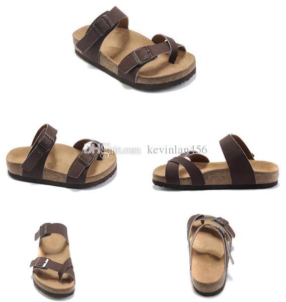 2020 новые кожаные тапочки белый красный мужские плоские сандалии Женская обувь две пряжки модный дизайн удобный летний пляж высокое качество размер 36-46