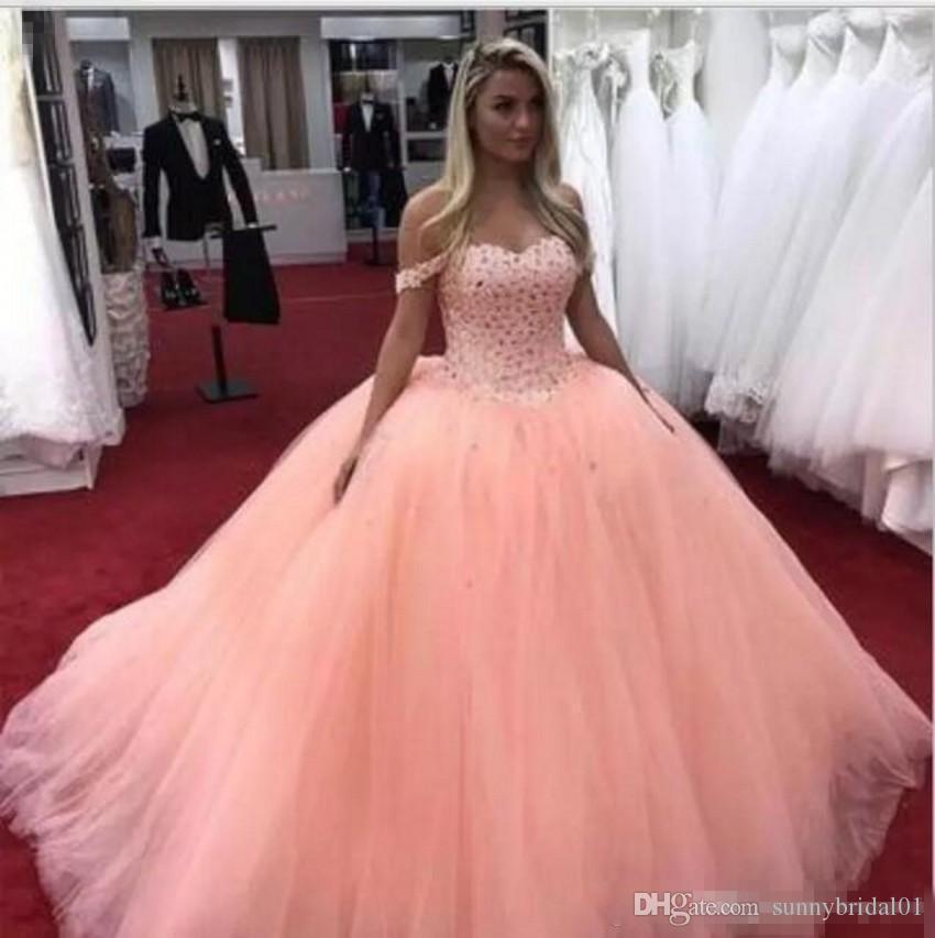 Compre Vestido De Fiesta 2019 Vestidos De Quinceañera Fuera Del Tren De Barrido Del Hombro Fiesta Principal Que Rebordea Los Vestidos Del Baile De Fin