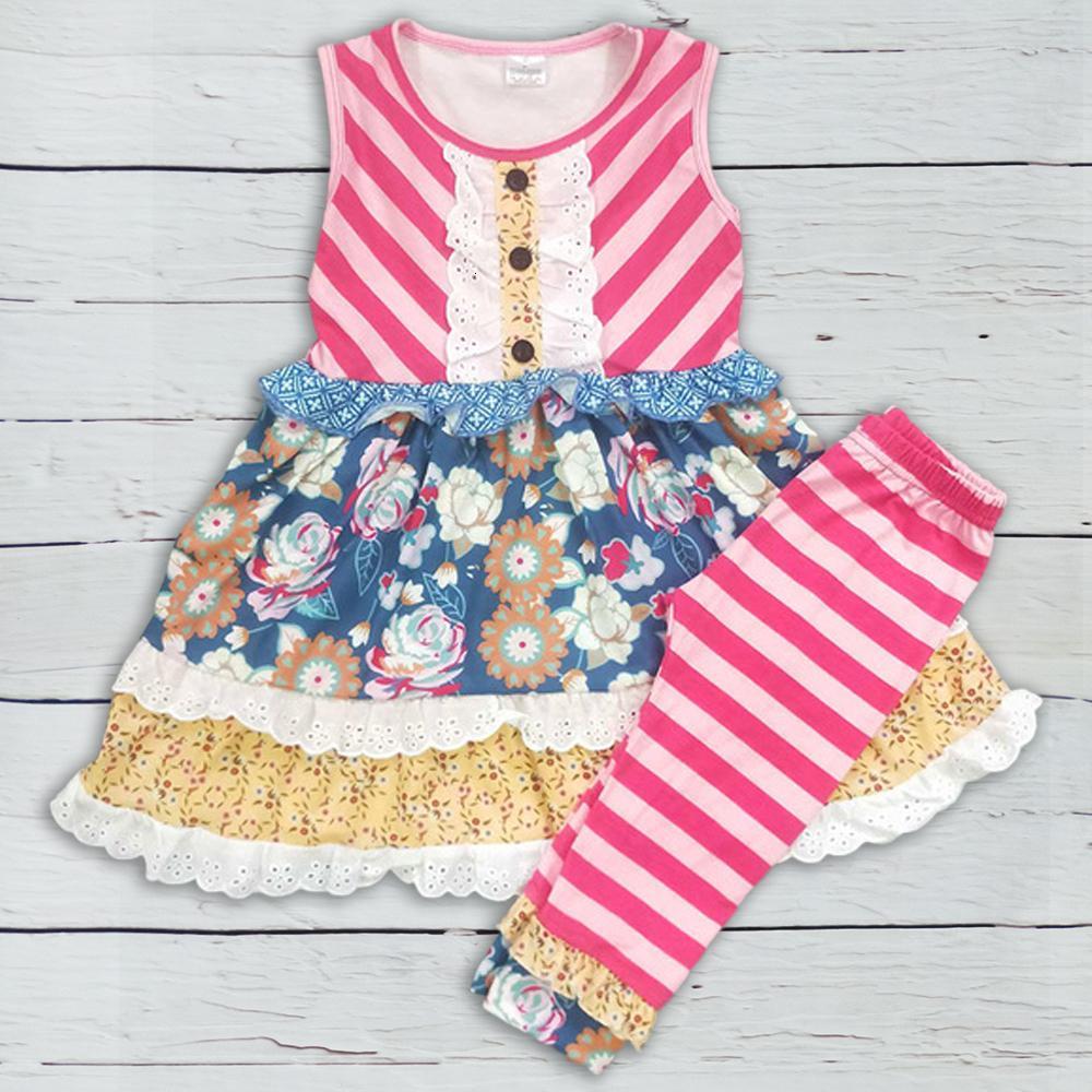 Precio al por mayor de ropa de verano para niños Remake de la colmena de los pantalones de algodón muchachas de los sistemas Boutique Ropa 2GK812-947MX190916