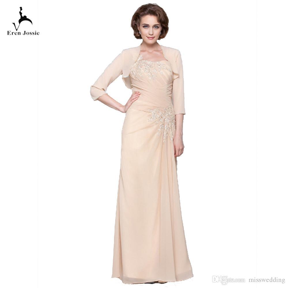 großhandel eren jossie 2019 kleider für die brautmutter mit bolero  champagner chiffon lange damen abendkleider falte hochzeitsfest dinner von