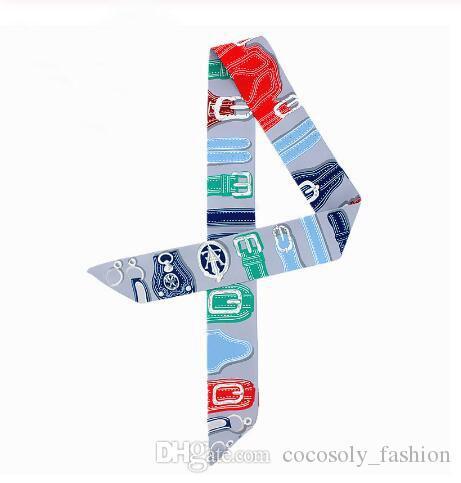Nouveau Design Montre Bracelet Imprimer Foulard En Soie Femmes Brand Design Écharpe Sac Rubans De Mode Foulard Tête Petite Longues Foulards C45