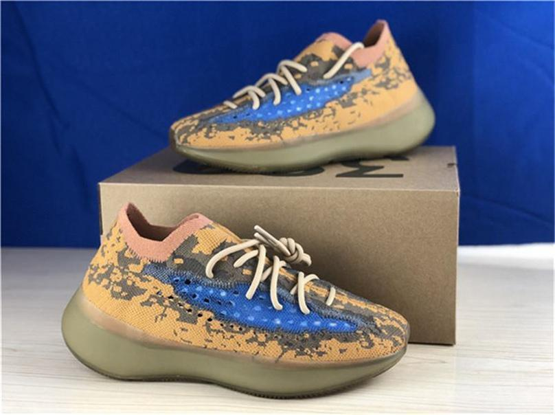 2020 Release Otantik 380 Mavi Yulaf Koşu Ayakkabı 380S Erkekler Kadınlar Kanye West Dalga Runner 3M Yansıtıcı Sneakers Sports ile Orijinal Kutusu