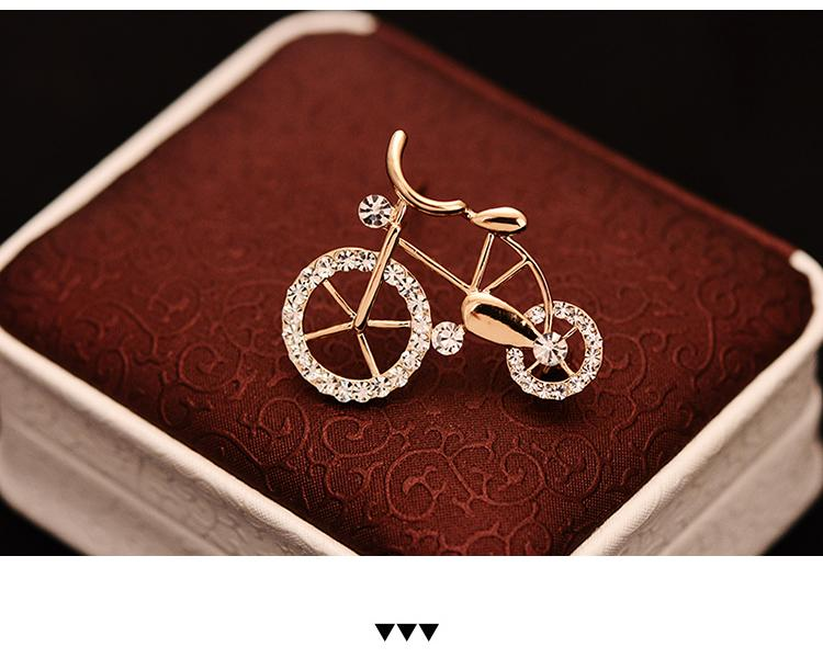 Wholesale-Cute Bicycle Small Brooch Corsage For Kids Crystal Brooches Gold-color Broche Birthday Gift Hijab Pins Blouse Collar Clips