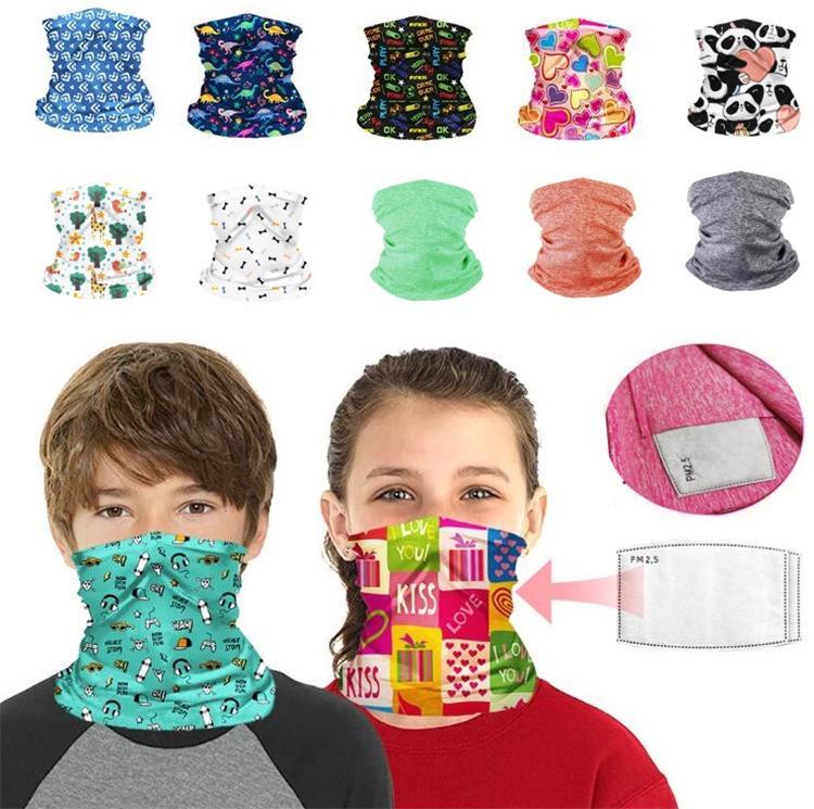 27 개 디자인 어린이 얼굴 실드 필터 보호 야외 썬 스크린 승마 페이스 매직 스카프 넥 게이터 발라 클라 터 번 마스크 마스크