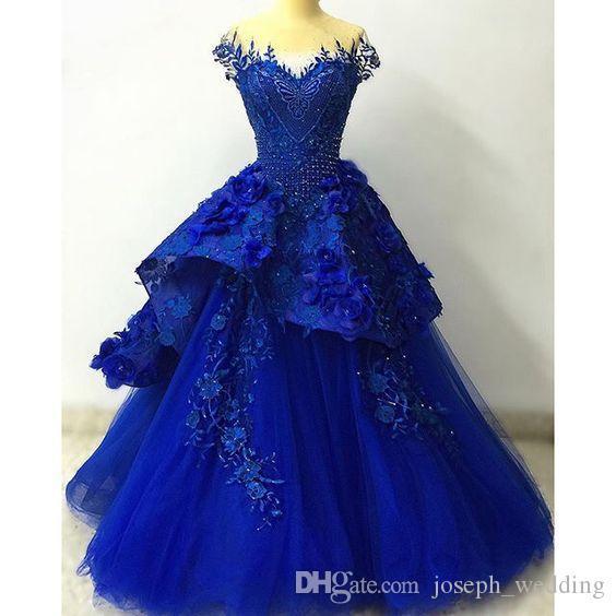 2020 Royal Blue abito di sfera Abiti Quinceanera con il fiore Handmade PROM dolci 16 abiti da sposa vestidos abiti da sera