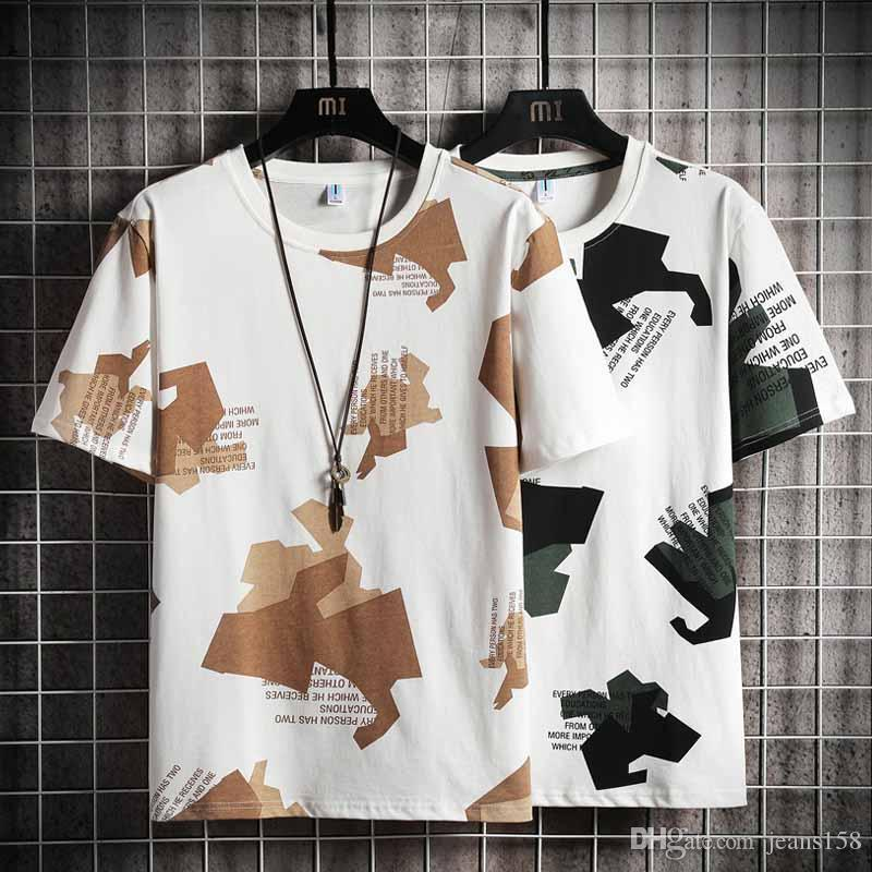 20 Stock! Pintura Colores Tops de los hombres de moda los deportes de fitness camuflaje de manga corta camiseta de primavera y verano personalizada camiseta de la impresión fo