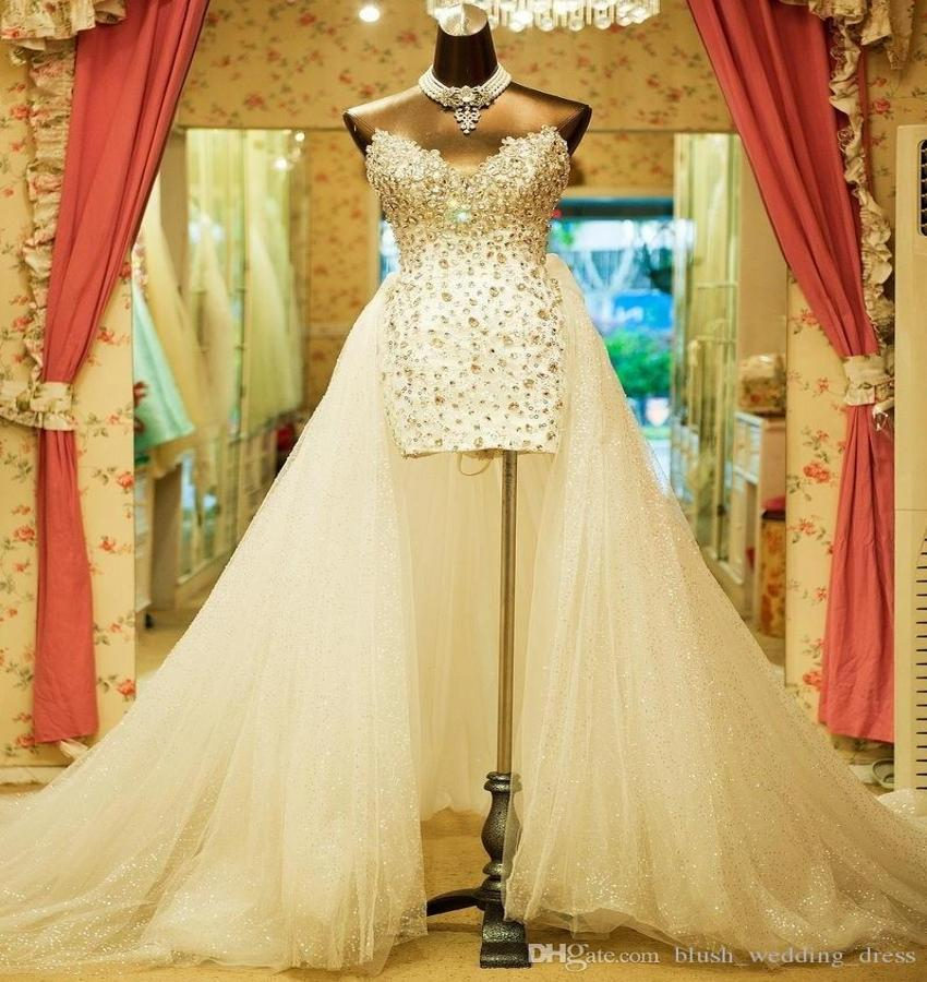 Sweetheart Strapless Wedding Dresses Court Train Vintage Carolina White Brides Dresses Custom Made Hi-Low Beaded Crystal Bridal Dresses