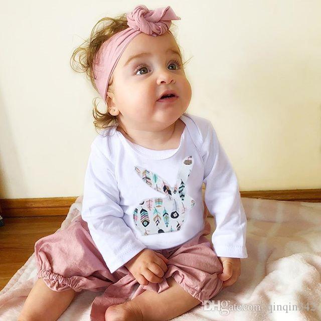 Newborn Baby Girls Romper Jumpsuit Bodysuit Grows Headband Outfits Clothes Set