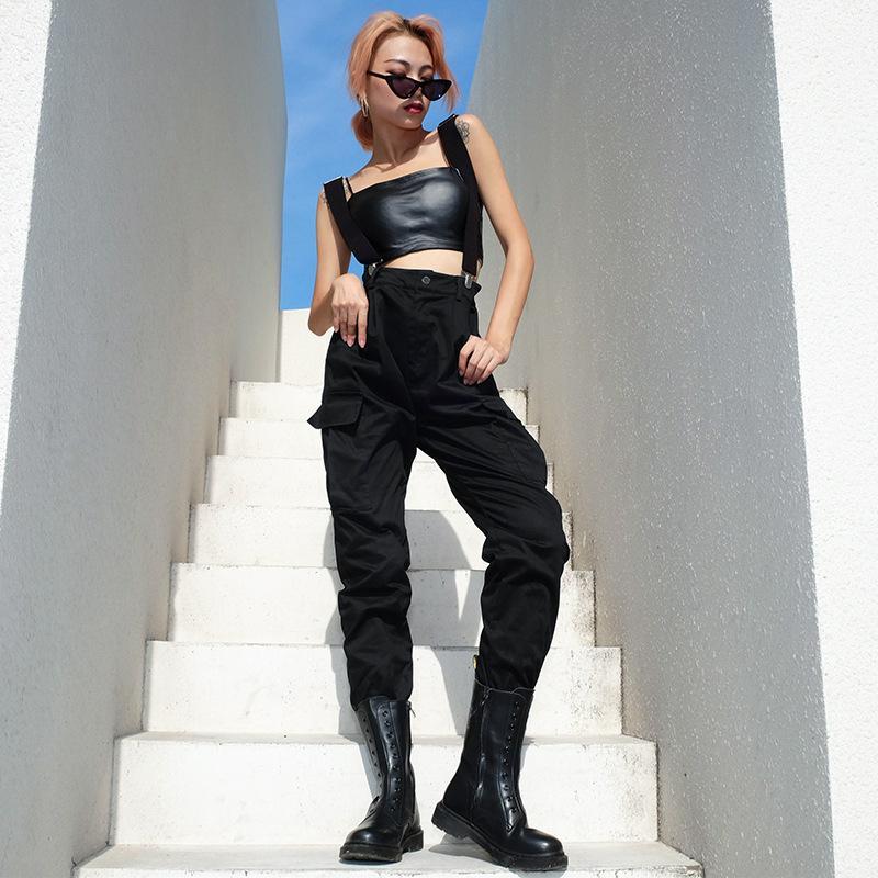 Noir taille haute Pantalons simple Femmes Mode Streetwear Plissé Pantalon cargo Femmes Femme Pantalon Crayon 2020 Sweat