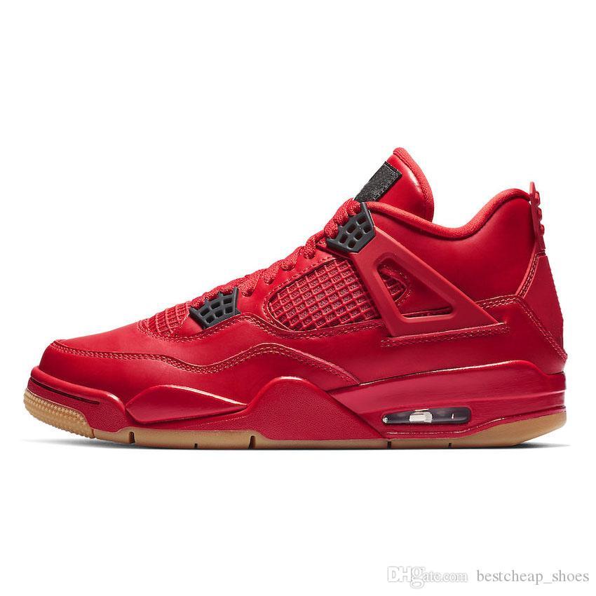 Nike Air Jordan Jordans Retro 4 Nuevos Solteros Día 4 IV 4s Tatuaje Hombres Zapatos De Baloncesto Gato Negro Fuego Rojo Blanco Retro Cactus Jack