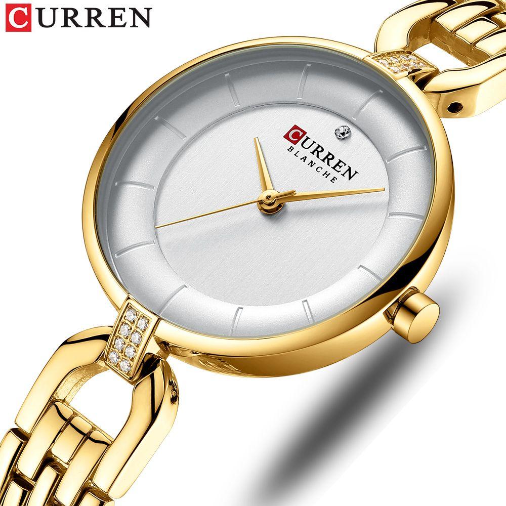 CURREN ساعات للنساء ساعات الكوارتز الفولاذ المقاوم للصدأ السيدات ساعة ساعة اليد الأعلى العلامة التجارية الفاخرة ساعات نسائية Relogios feminino