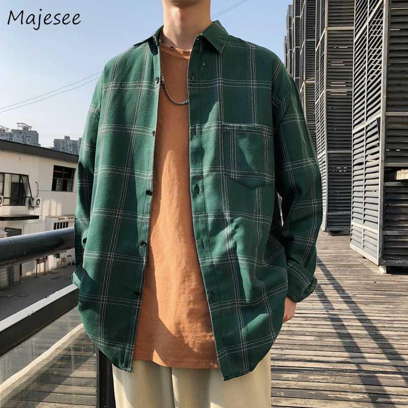 Erkekler Gömlek Uzun Kollu Turn-aşağı Yaka Ekose Artı boyutu 3XL Gevşek Gömlek Erkek Kore Stil Şık All-maç Harajuku BF Dış Giyim Yeni