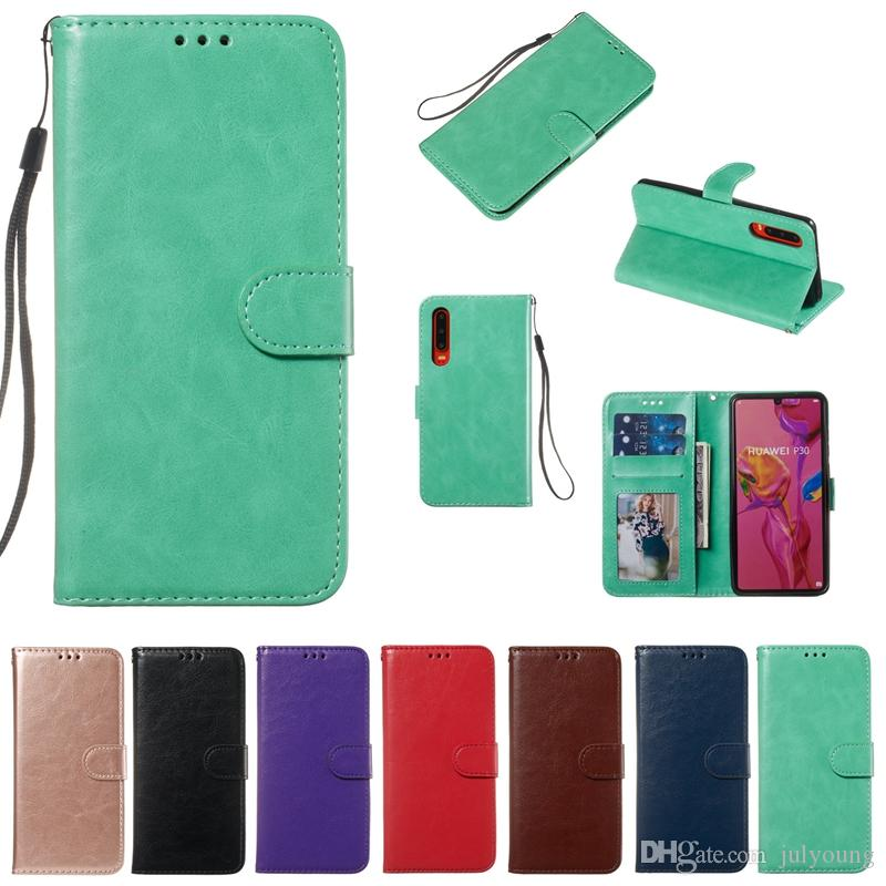 Leather Wallet Case For Huawei P30 Lite P20 Pro Mate 20 Honor 10 Lite Crazy Horse Card ID Slot Pocket Frame Photo Holder Stand Fashion Pouch
