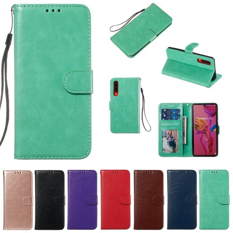 Leder Brieftasche Fall für Huawei P30 Lite P20 Pro Mate 20 Ehre 10 Lite Crazy Horse Karte ID Slot Tasche Rahmen Fotohalter Stand Fashion Pouch