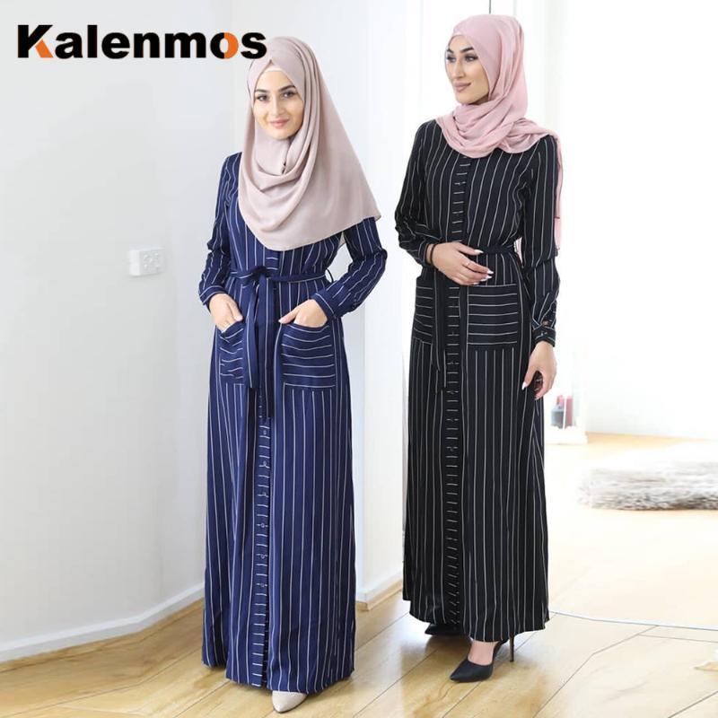 2021 Kalenmos Ramadan Eid Hijab Dress Women Striped Dubai Muslim Abaya Turkey Jilbab Kaftan Islamic Ropa Vestidos Caftan Moroccan From Makechic 43 39 Dhgate Com