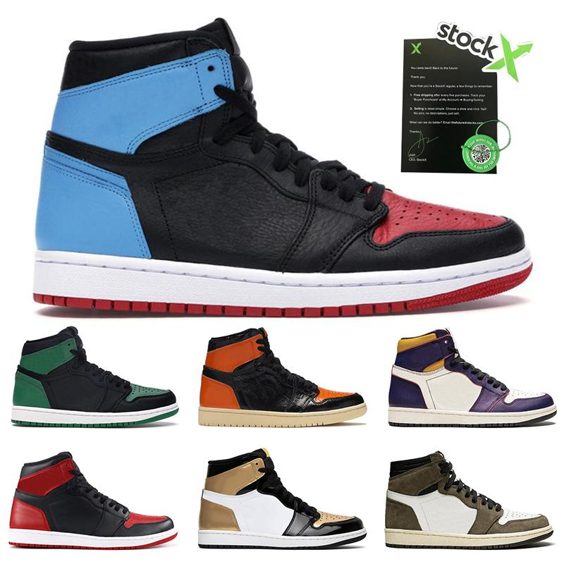 Nike Air Jordan 1 Superiori all'ingrosso mens allenatori sportivi delle scarpe da tennis 1 1s UNC a Chicago Travis Scott Shattered Backboard 3,0 Mens Basketball Shoes