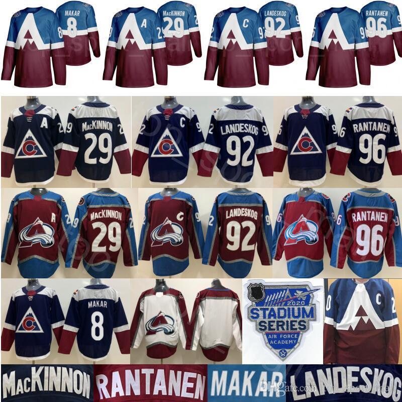 2020 Stadium Series Jerseys Colorado Avalanche Hockey 8 Cale Makar 29 Nathan MacKinnon 92 Gabriel Landeskog 96 Mikko Rantanen Navy Burgundy