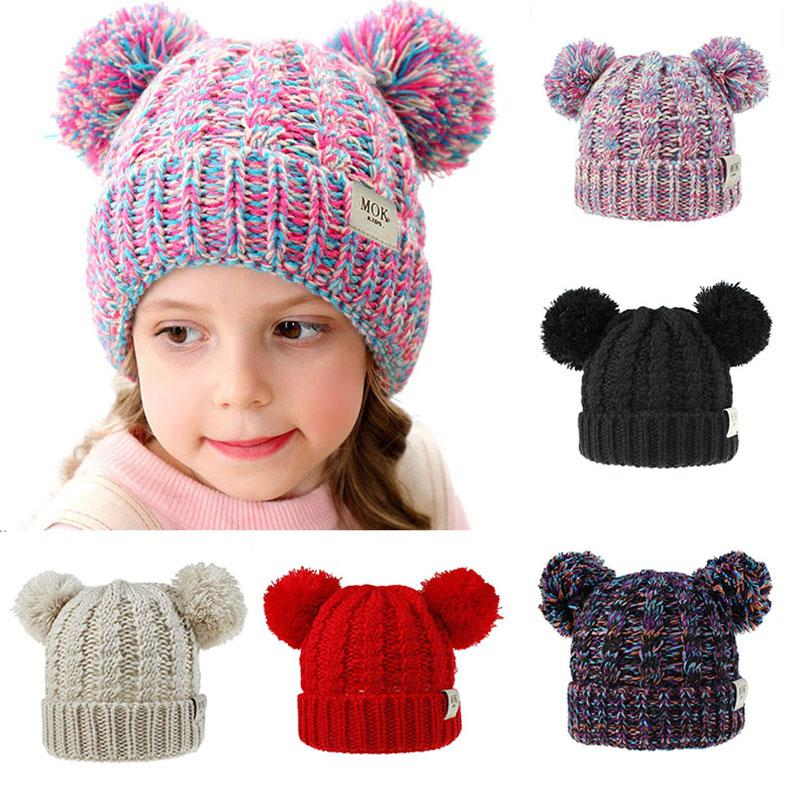 12 Styles Baby Girls Knit Cap 2020 Kid Crochet Pom Pom Beanies Hat Double Fur Ball Hats Children Knit Outdoor Caps Kids Accessories M315